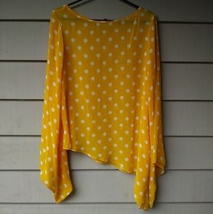 VINCE CAMUTO Yellow Sheer Polka Dot Blouse Medium